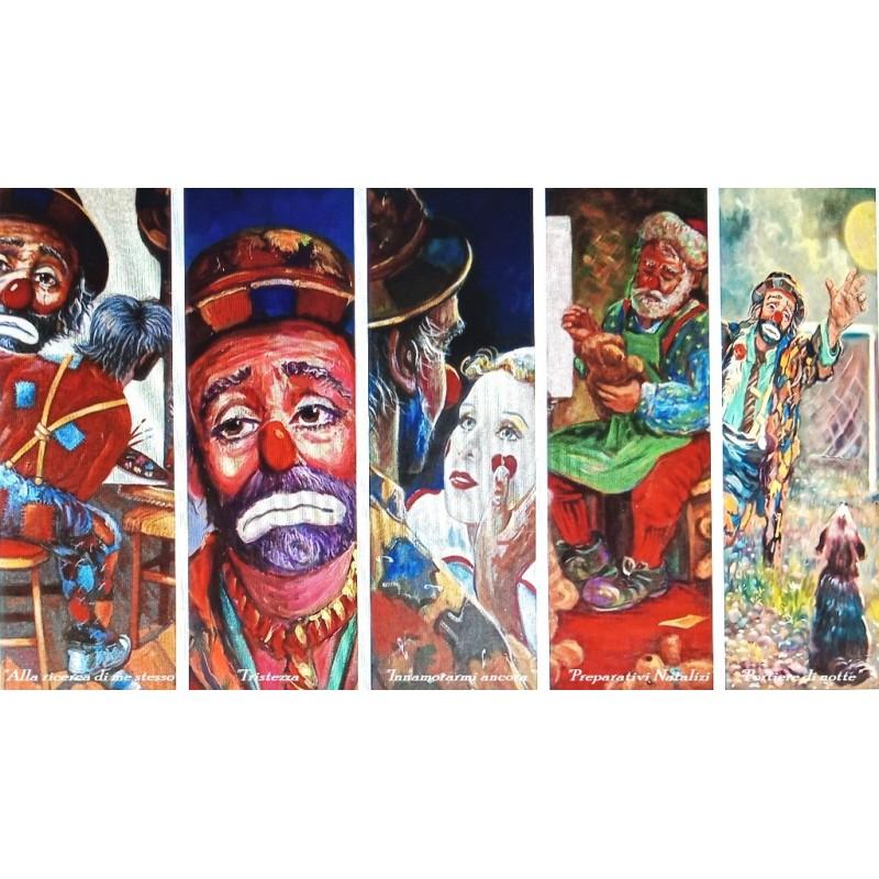 "Set of 5 Rectangular Bookmarks by Beniamino Ajroldi ""Subjects clowns"""