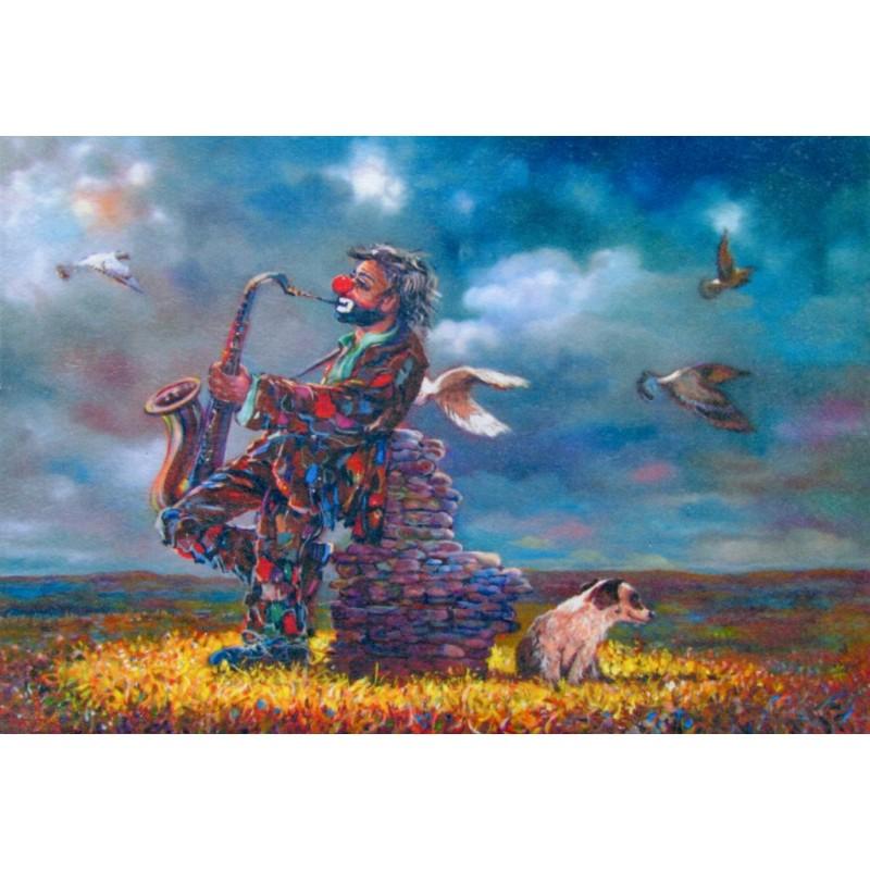 "Art postcard of Beniamino Ajroldi in oleography on cardboard ""Solitary saxophonist"""