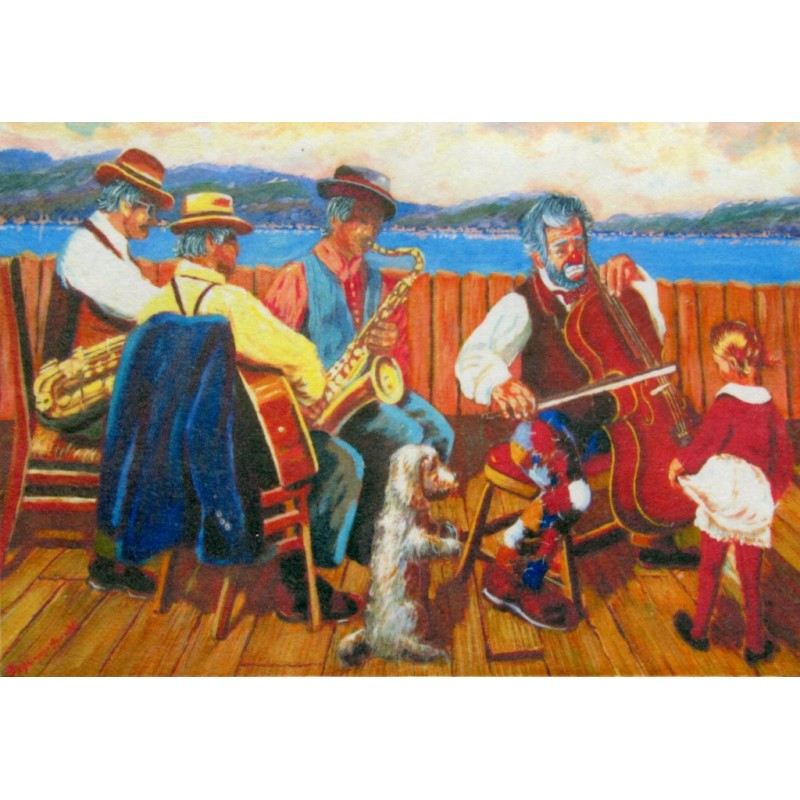 "Art postcard of Beniamino Ajroldi in oleography on cardboard ""Dance rehearsals in Lazise on Lake Garda"""