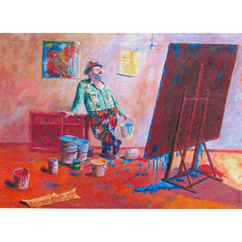 "Art postcard of Beniamino Ajroldi in oleography on cardboard ""Pictorial inspiration"""