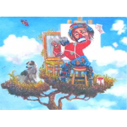 """Cartolina artistica di Beniamino Ajroldi """"Qualcuno volò sul nido del cuculo.... per leggersi un buon libro"""""""
