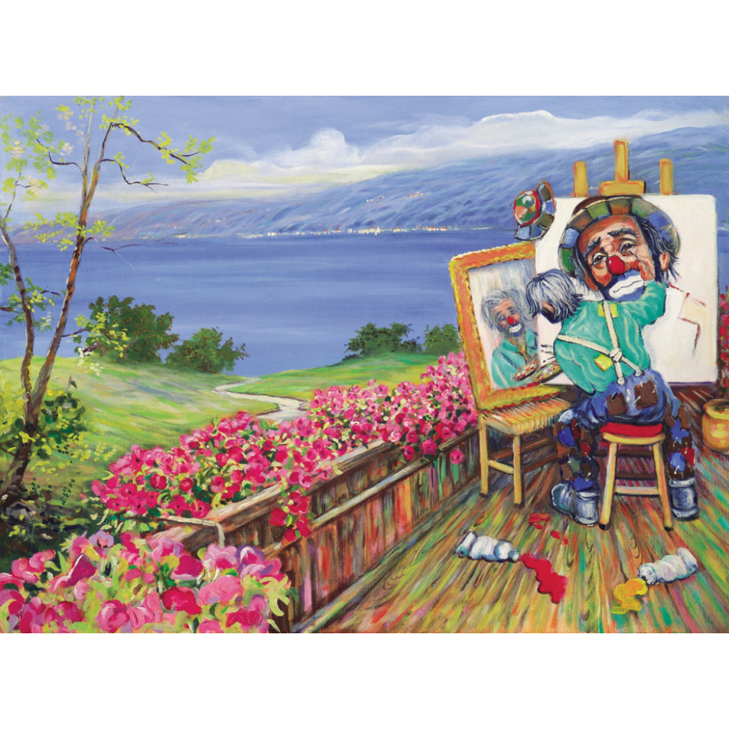 """Art postcard of Beniamino Ajroldi in oleography on cardboard """"In search of myself"""""""