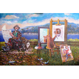 "Art postcard of Beniamino Ajroldi in oleography on cardboard ""Self-esteem. When the student surpasses the teacher"""