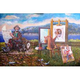 """Cartolina artistica di Beniamino in oleografia su cartoncino """"Autostima. Quando l'allievo supera il maestro"""""""