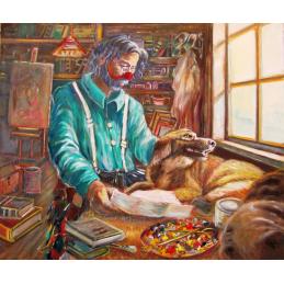 """Cartolina artistica di Beniamino Ajroldi  in oleografia su cartoncino """"L'amore perduto"""""""