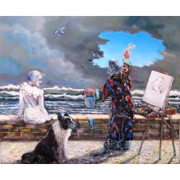 """Cartolina artistica di Beniamino Ajroldi  in oleografia su cartoncino """"Nel blù.... dipinto di blù"""""""
