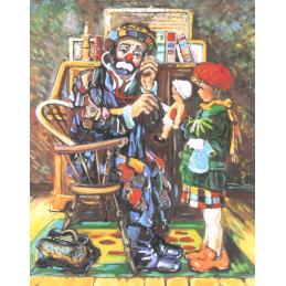 """Cartolina artistica di Beniamino Ajroldi  in oleografia su cartoncino """"Il dottore dei balocchi"""""""