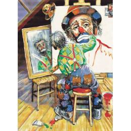 """Cartolina artistica di Beniamino Ajroldi  in oleografia su cartoncino """"Alla ricerca di me stesso"""""""