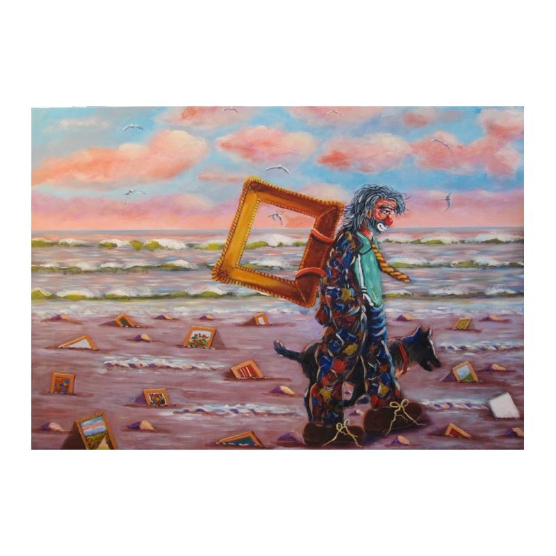 "Art postcard of Beniamino Ajroldi in oleography on cardboard ""The Lost Art"""