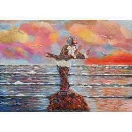 """Cartolina artistica di Beniamino Ajroldi  in oleografia su cartoncino """"Direttore dell'oceano"""""""