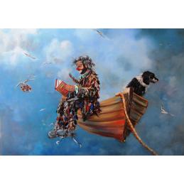 """Cartolina artistica di Beniamino Ajroldi  in oleografia su cartoncino """"Navigando l'infinito"""""""