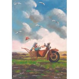 """Cartolina artistica di Beniamino Ajroldi  in oleografia su cartoncino """"Fuga dal temporale"""""""