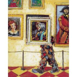 """Cartolina artistica di Beniamino Ajroldi  in oleografia su cartoncino """"Tra le opere del museo"""""""