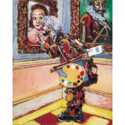 """Cartolina artistica di Beniamino Ajroldi  in oleografia su cartoncino """"Critico d'arte"""""""