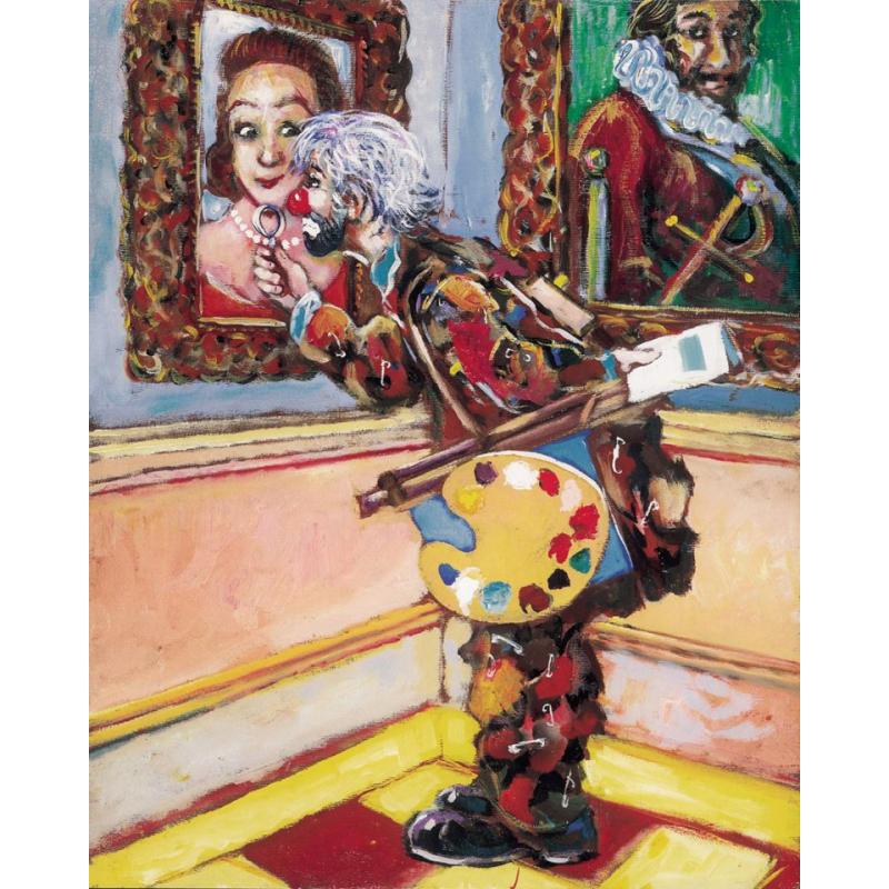 "Art postcard of Beniamino Ajroldi in oleography on cardboard ""Art critic"""