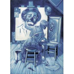 """Cartolina artistica di Beniamino Ajroldi  in oleografia su cartoncino """"Alla ricerca di me stesso (Sinfonia in blù)"""""""
