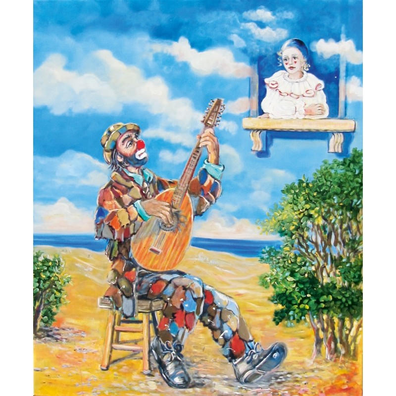 "Oil painting on canvas by Beniamino Ajroldi ""Serenade"""
