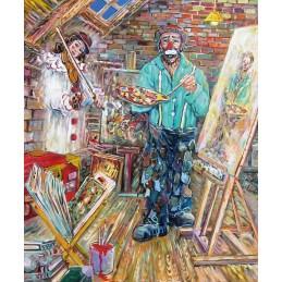 "Dipinto olio su tela di Beniamino Ajroldi ""La musa ispiratrice"""