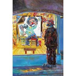 """Dipinto olio su tela di Beniamino Ajroldi """"Soddisfazione artistica"""""""