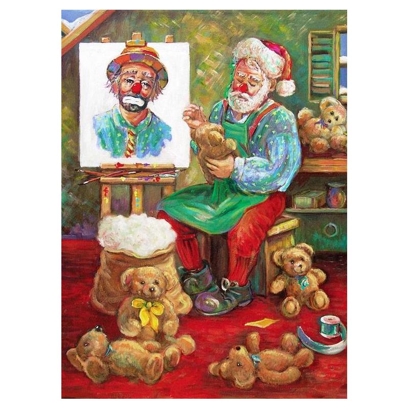 "Art postcard of Beniamino Ajroldi in oleography on cardboard ""Christmas Preparations"""