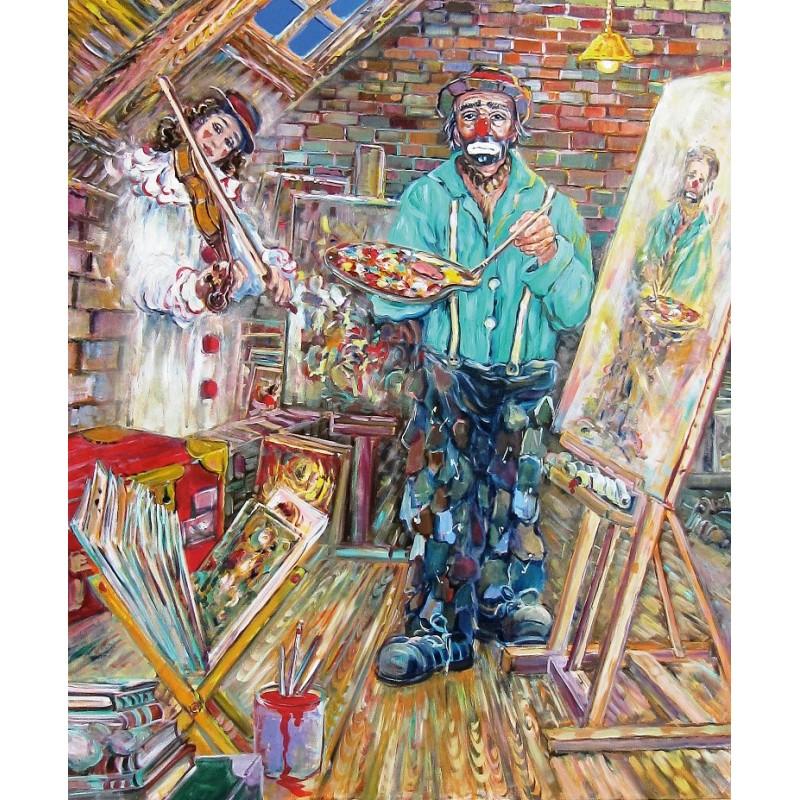 "Art postcard of Beniamino Ajroldi in oleography on cardboard ""The inspiring muse"""