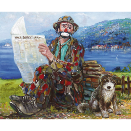 "Art postcard of Beniamino Ajroldi in oleography on cardboard ""Financial news on Lake Garda"""
