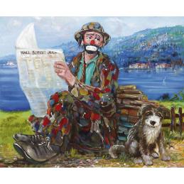 """Cartolina artistica di Beniamino Ajroldi  in oleografia su cartoncino """"Notizie finanziarie su Lago di Garda"""""""