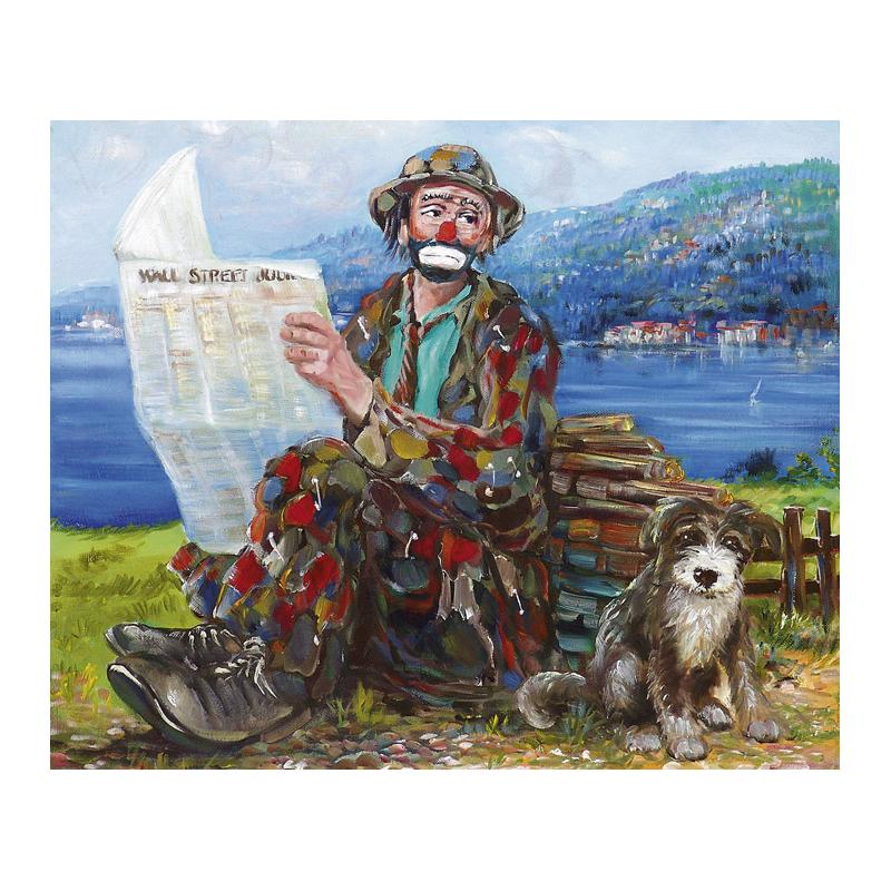 "Art postcard of Beniamino Ajroldi in oleography on cardboard ""Financial news on Lake Garda"""