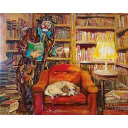 """Cartolina artistica di Beniamino Ajroldi  in oleografia su cartoncino """"Chi va dall'osto.... perde il posto"""""""