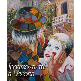 "Art postcard of Beniamino Ajroldi in oleography on cardboard ""Fall in love again in Verona"""