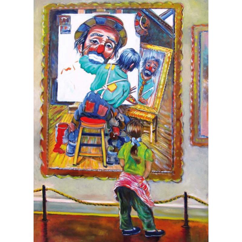 "Art postcard of Beniamino Ajroldi in oleography on cardboard ""Artistic meditation"""