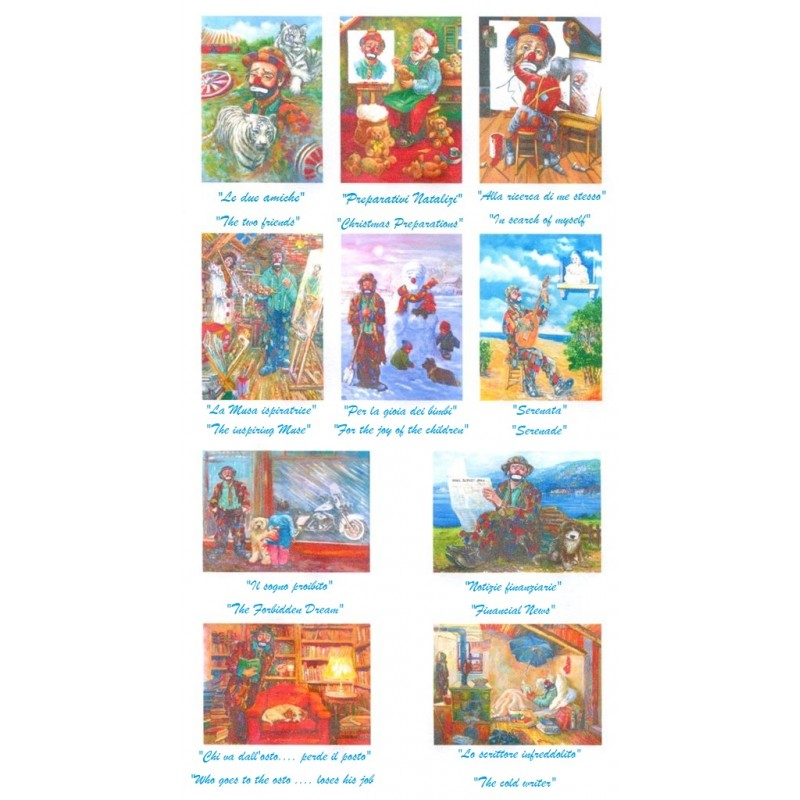 """Set of 10 artistic postcards by Beniamino Ajroldi in oleography on cardboard """"Various subjects clowns"""""""