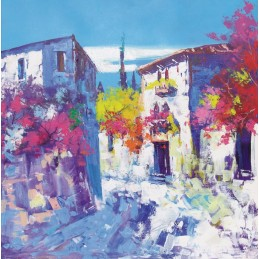 "Oil painting on canvas by Beniamino Ajroldi ""Corner of Avesa (Verona)"""