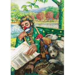 "Art postcard of Beniamino Ajroldi in oleography on cardboard ""Rest along the river"""