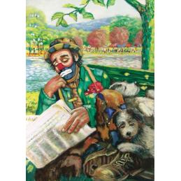"""Cartolina artistica di Beniamino Ajroldi  in oleografia su cartoncino """"Riposino lungo il fiume"""""""