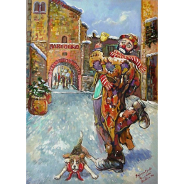 "Art postcard of Beniamino Ajroldi in oleography on cardboard ""Merry Christmas from Bardolino"""