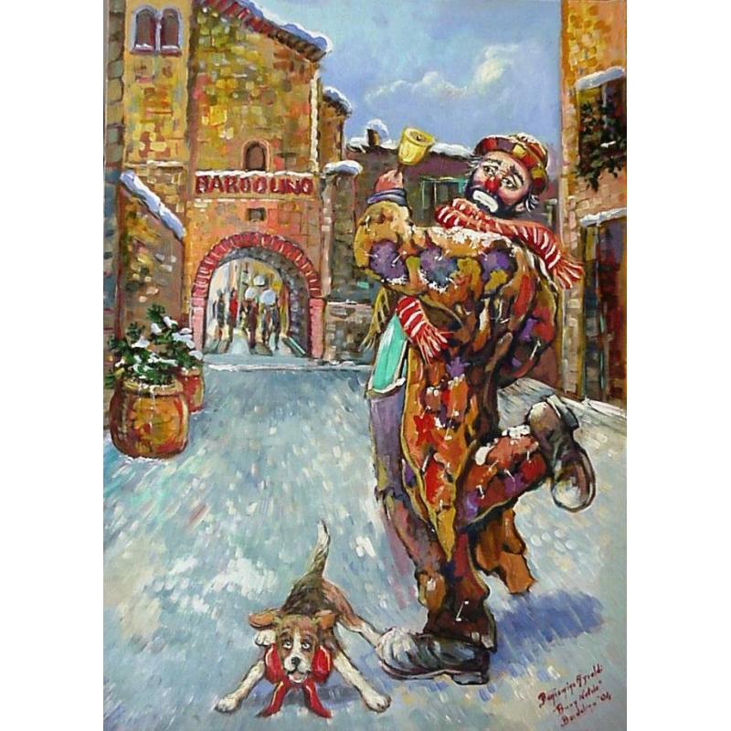 "Art postcard of Beniamino Ajroldi in oleography on cardboard ""Merry Christmas from Bardolino"""
