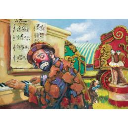 "Art postcard of Beniamino Ajroldi in oleography on cardboard ""The last concert"""