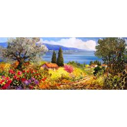 """Segnalibro rettangolare di Beniamino Ajroldi """"Estate sulle colline del Lago di Garda"""""""
