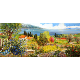 "Rectangular bookmark by Beniamino Ajroldi ""Spring on Lake Garda"""
