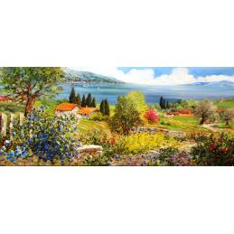 """Rectangular bookmark by Beniamino Ajroldi """"Spring on Lake Garda"""""""