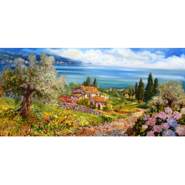 "Rectangular bookmark by Beniamino Ajroldi ""Path towards Lake Garda"""