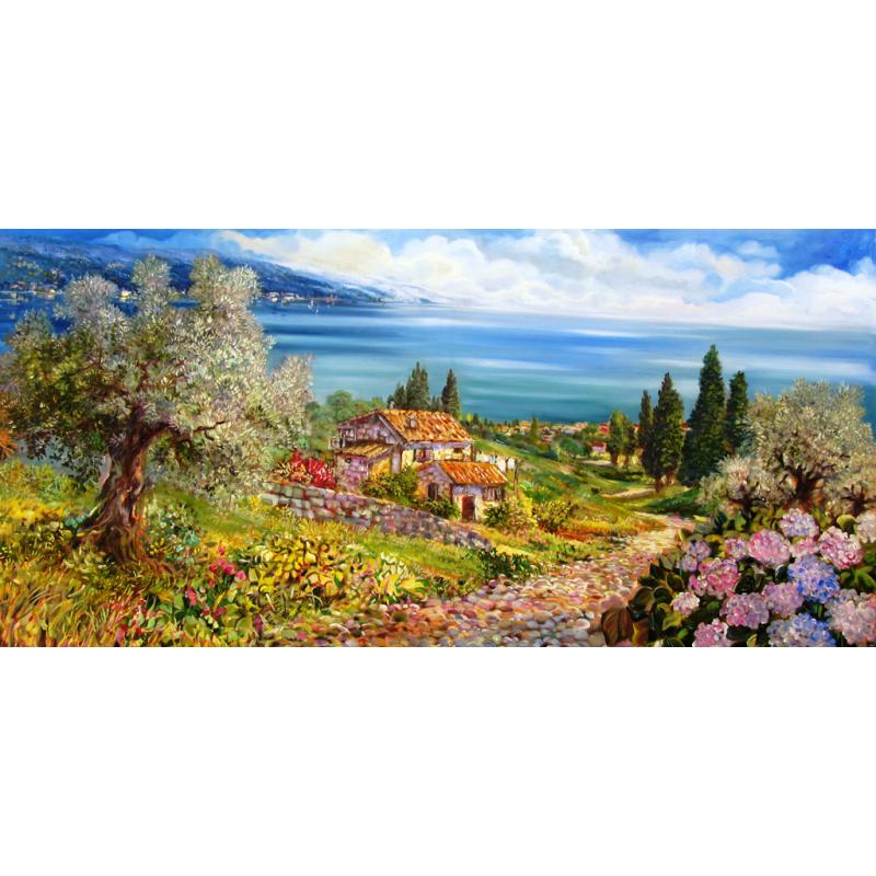"""Rectangular bookmark by Beniamino Ajroldi """"Path towards Lake Garda"""""""