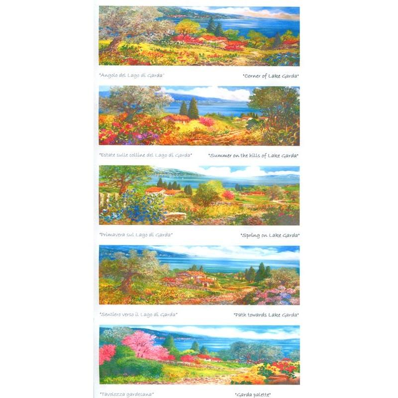 """Set of 5 Rectangular Bookmarks by Beniamino Ajroldi """"Landscape Subjects of Lake Garda"""""""