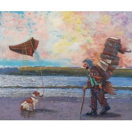 """Dipinto olio su tela di Beniamino Ajroldi """"Partenza per l'infinito con l'AstroBarca"""""""