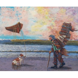"""Oil painting on canvas by Beniamino Ajroldi """"Departure for infinity with the Boat Space"""""""
