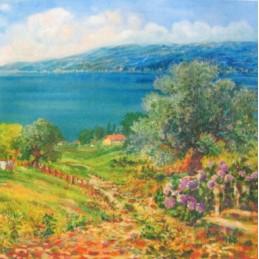 "Pocket bookmark by Beniamino Ajroldi ""Olive trees on Lake Garda"""