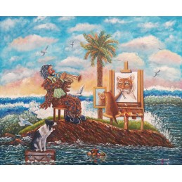 "Dipinto olio su tela di Beniamino Ajroldi ""L'Isola dei Famosi"""
