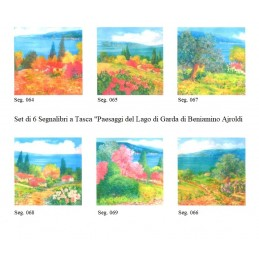 "Set of 6 Pocket Bookmarks by Beniamino Ajroldi ""Landscapes of Lake Garda"""
