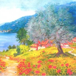 "Pocket bookmark by Beniamino Ajroldi ""Poppies on Lake Garda"""